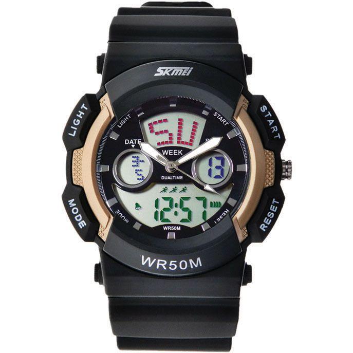 Relógio Masculino Skmei Anadigi 0895 Dourado