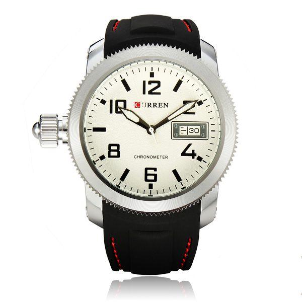 Relógio Masculino Curren Analógico 8173 (DATA ILUSTRATIVO) Preto e Prata