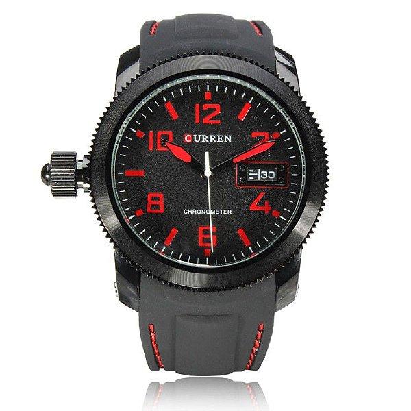 Relógio Masculino Curren Analógico 8173 (DATA ILUSTRATIVO) Preto e Vermelho