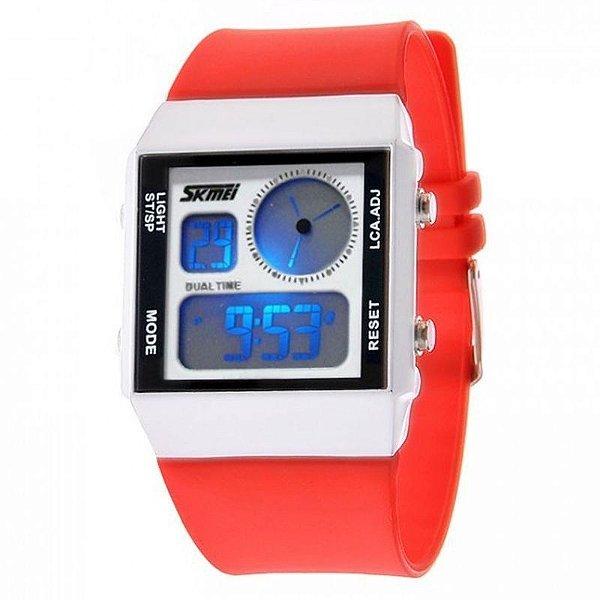 Relógio Feminino Skmei Anadigi 0841 Vermelho