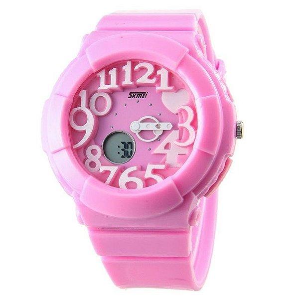 Relógio Feminino Skmei Anadigi 1020 Rosa