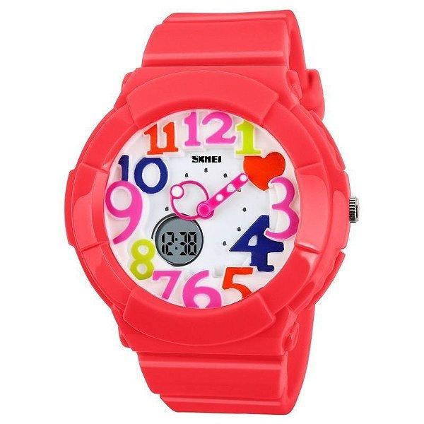 Relógio Feminino Skmei Anadigi 1020 Vermelho
