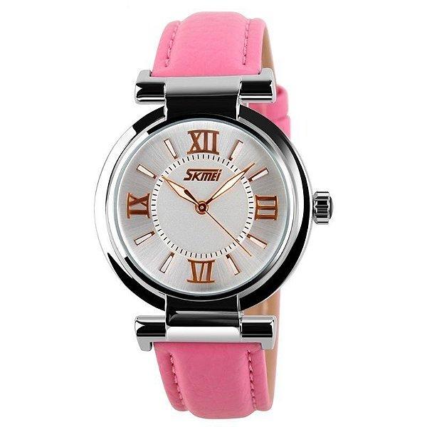 Relógio Feminino Skmei Analógico 9075 - Rosa e Branco