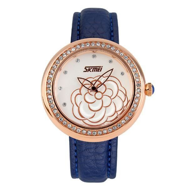 Relógio Feminino Skmei Analógico 9087 Azul e Dourado