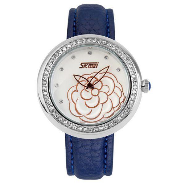 Relógio Feminino Skmei Analógico 9087 Azul e Prata