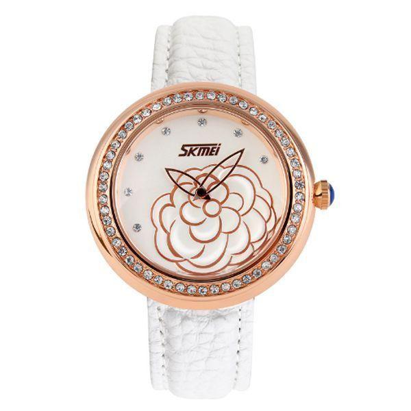 Relógio Feminino Skmei Analógico 9087 Branco e Dourado