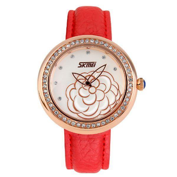 Relógio Feminino Skmei Analógico 9087 Vermelho e Dourado
