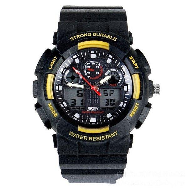 Relógio Skmei Anadigi 0909 Preto e Amarelo