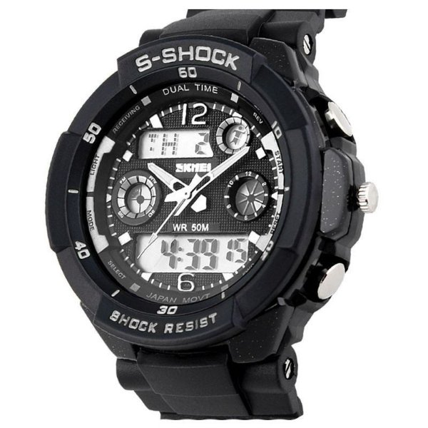 Relógio Masculino Skmei Anadigi 0931 Preto e Branco