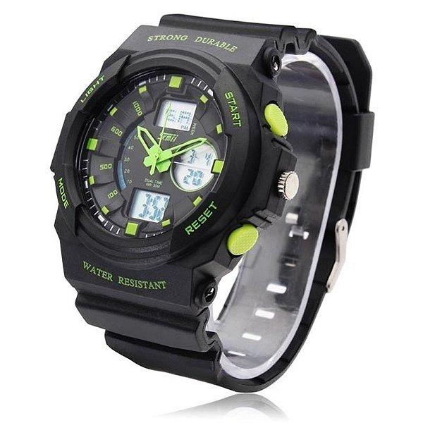 Relógio Skmei Anadigi 0955 Preto e Verde