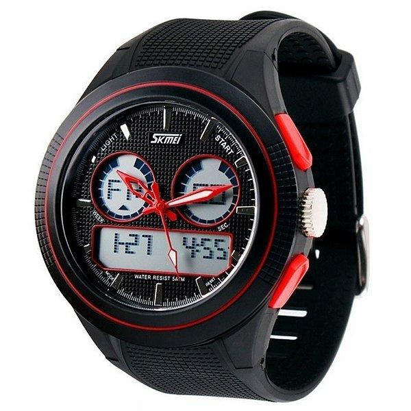 Relógio Skmei Anadigi 0957 Preto e Vermelho