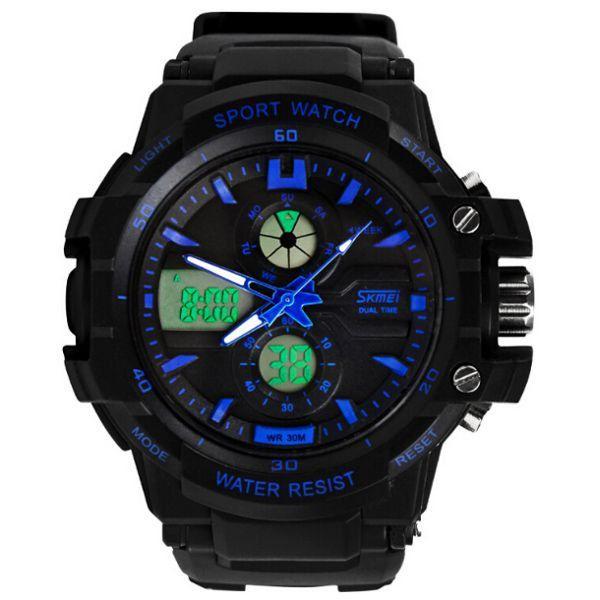 Relógio Masculino Skmei Anadigi 0990 Preto e Azul