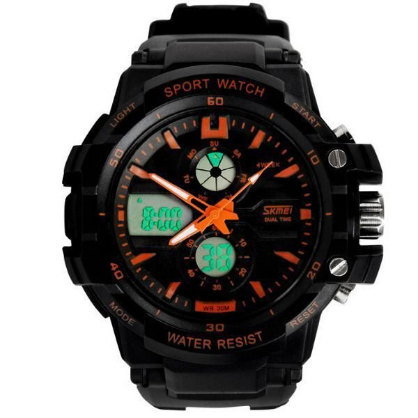 Relógio Masculino Skmei Anadigi 0990 Preto e Laranja