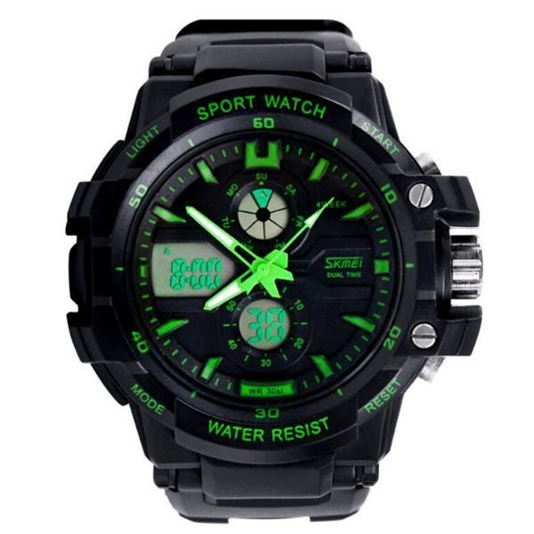 Relógio Masculino Skmei Anadigi 0990 Preto e Verde