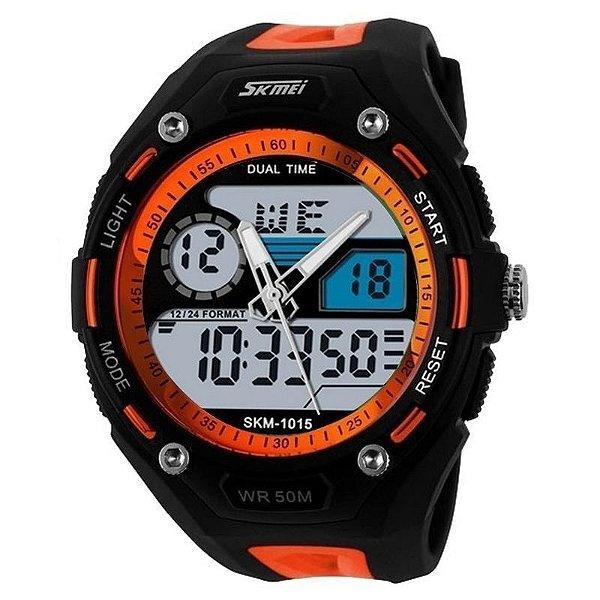 a5d7065c373 Relógio Masculino Skmei Anadigi 1015 Laranja e Preto - ShopDesconto ...