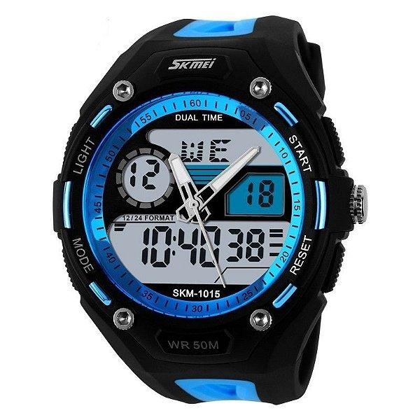 Relógio Masculino Skmei Anadigi 1015 Preto e Azul