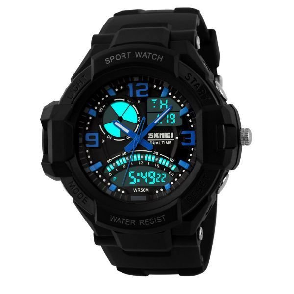 Relógio Masculino Skmei Anadigi 1017 Preto e Azul