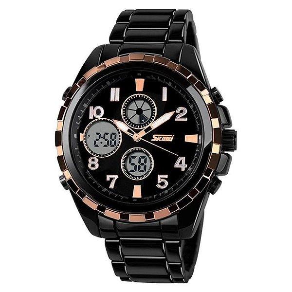 Relógio Masculino Skmei AnaDigi 1021 - Preto e Dourado