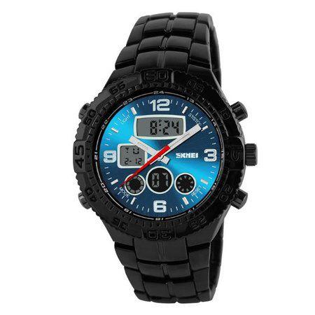 Relógio Masculino Skmei Anadigi 1030 Preto e Azul
