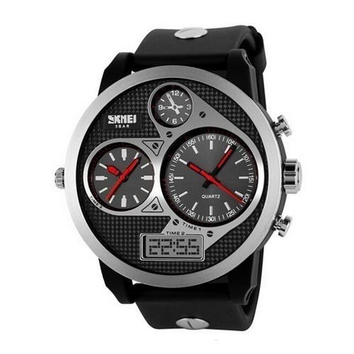 Relógio Masculino Skmei AnaDigi 1033 - Preto e Vermelho
