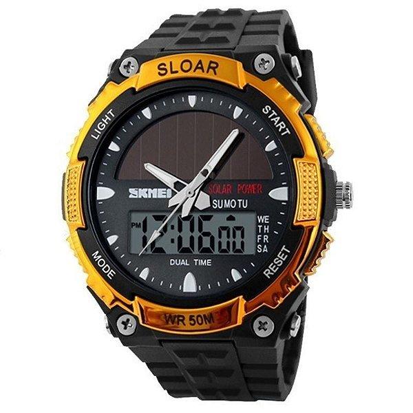Relógio Masculino Skmei Anadigi 1049 Preto e Dourado