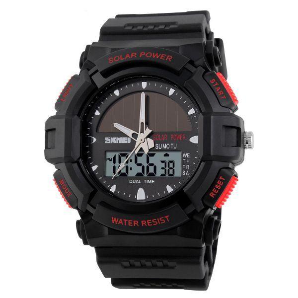 Relógio Masculino Skmei Anadigi 1050 Preto e Vermelho