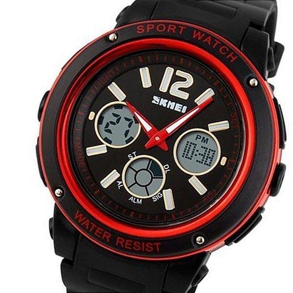 Relógio Skmei Anadigi 1051 Preto e Vermelho