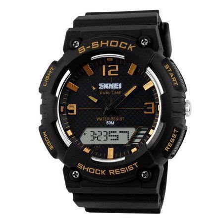 Relógio Masculino Skmei Anadigi 1057 Preto e Dourado