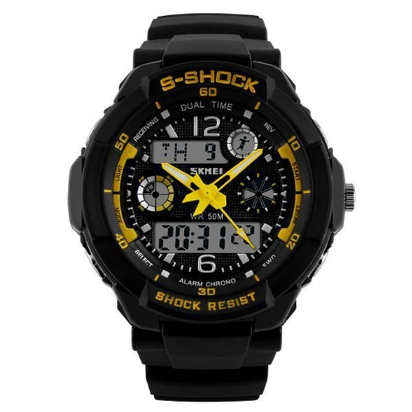 Relógio Masculino Skmei Anadigi 1060 Preto e Amarelo
