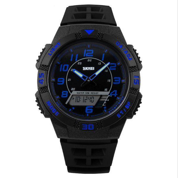 Relógio Masculino Skmei Anadigi 1065 Preto e Azul
