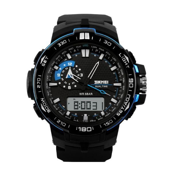 Relógio Masculino Skmei Anadigi 1081 Preto e Azul