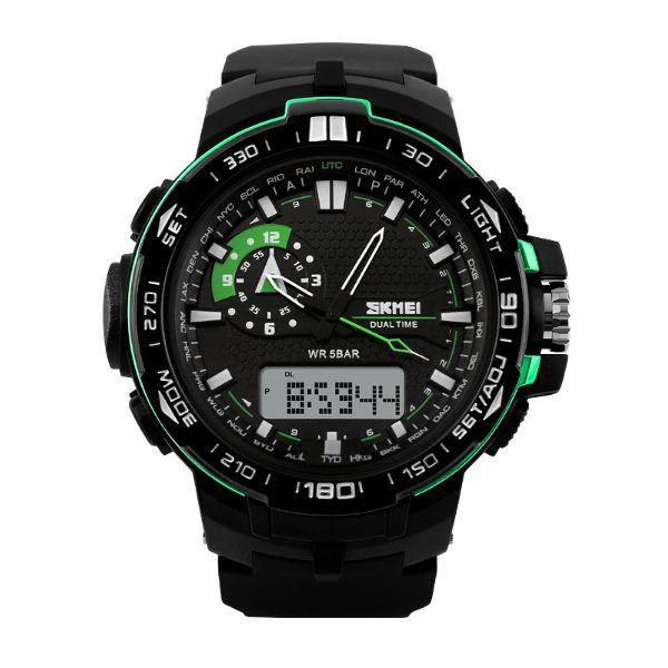 Relógio Masculino Skmei Anadigi 1081 Preto e Verde