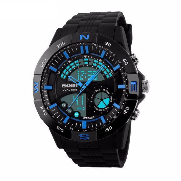 Relógio Masculino Skmei Anadigi 1110 Preto e Azul