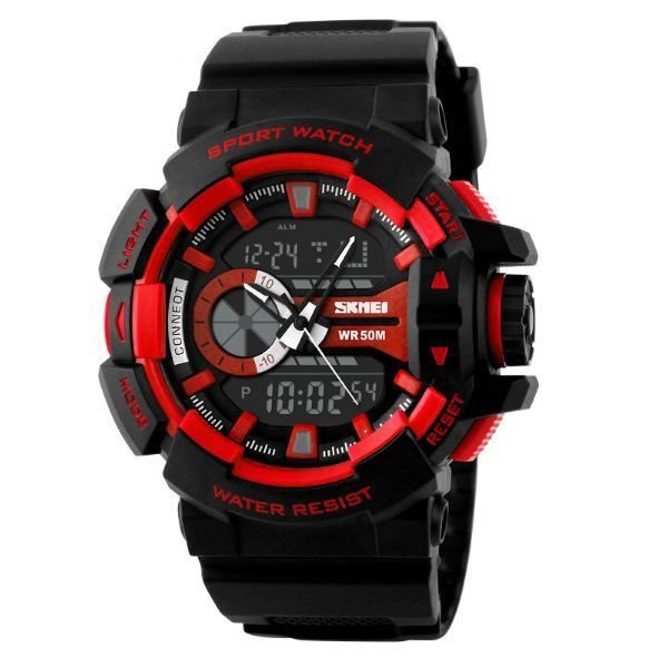 Relógio Masculino Skmei Anadigi 1117 Preto e Vermelho