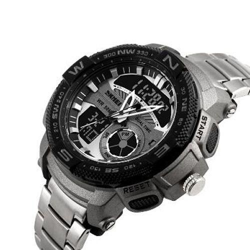 Relógio Masculino Skmei Anadigi 1121 Prata e Preto