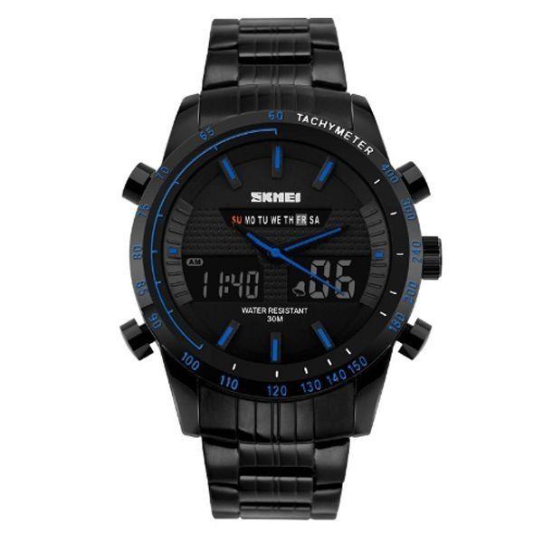 Relógio Masculino Skmei Anadigi 1131 Preto e Azul