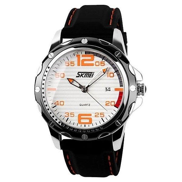 Relógio Masculino Skmei Analógico 0992 Branco e Laranja