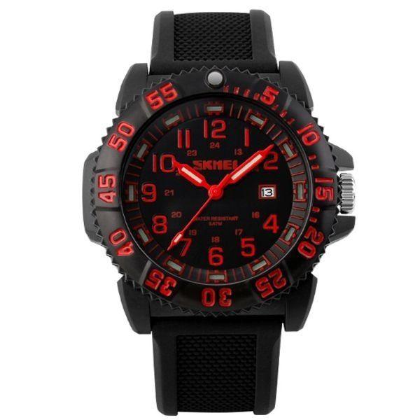 Relógio Masculino Skmei Analógico 1078 Preto e Vermelho