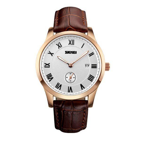 Relógio Masculino Skmei Analógico 1132 Marrom e Prata