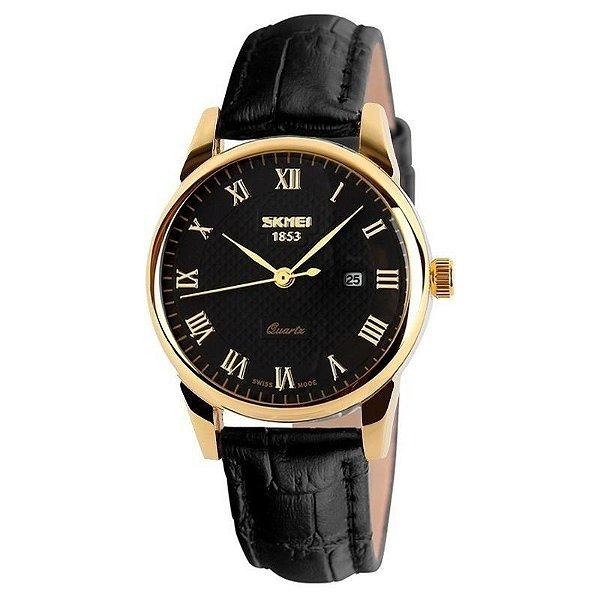 Relógio Masculino Skmei Analógico 9058 Preto e Dourado