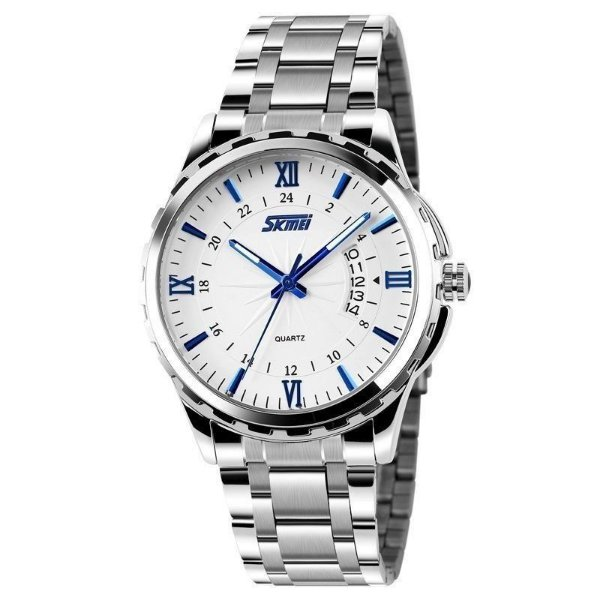 Relógio Masculino Skmei Analógico 9069 - Prata, Branco e Azul