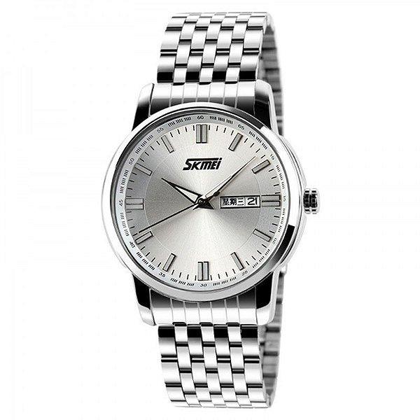 Relógio Masculino Skmei Analógico 9081 Prata e Branco