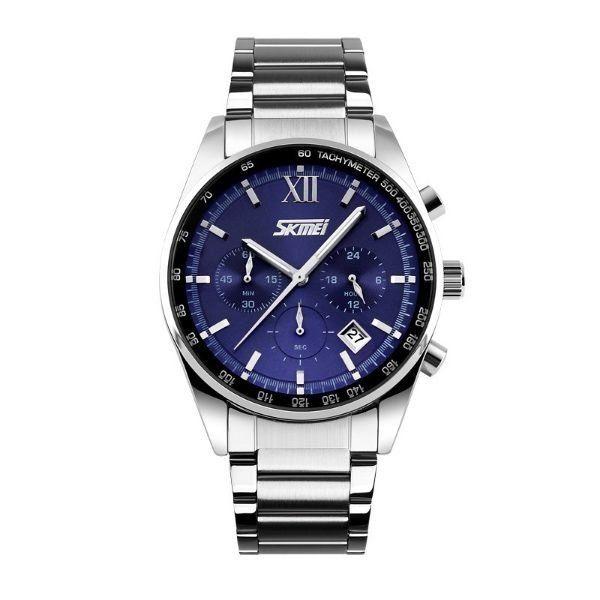 Relógio Masculino Skmei Analógico 9096 - Prata e Azul