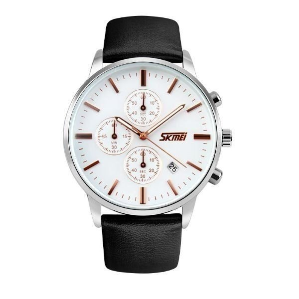 Relógio Masculino Skmei Analógico 9103 - Preto, Prata e Branco