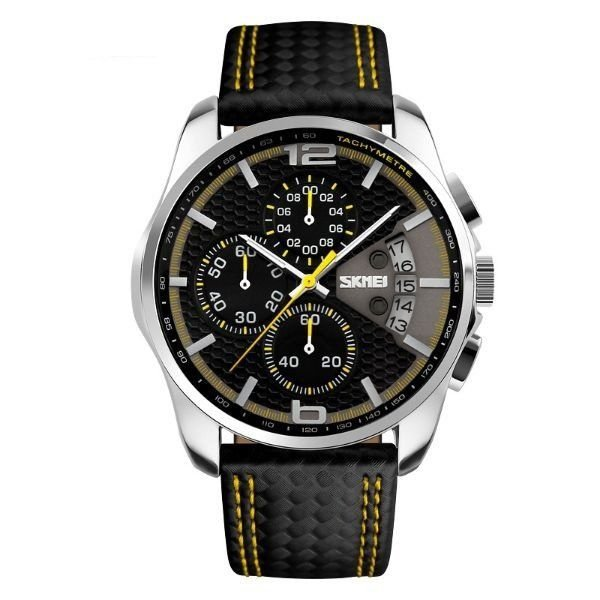 Relógio Masculino Skmei Analógico 9106 Preto e Amarelo