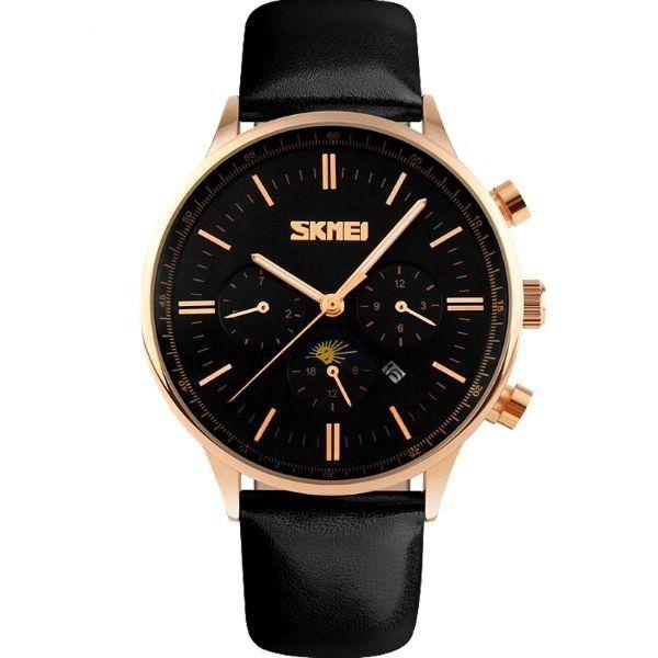 Relógio Masculino Skmei Analógico 9117 Preto e Dourado