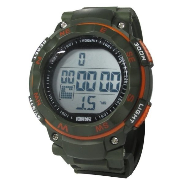 Relógio Masculino Skmei Digital 1024 Verde e Laranja