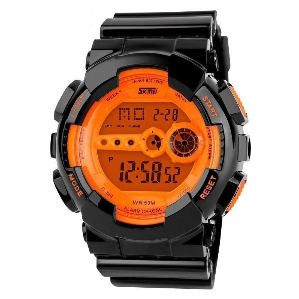 Relógio Skmei Digital 1026 Preto e Laranja