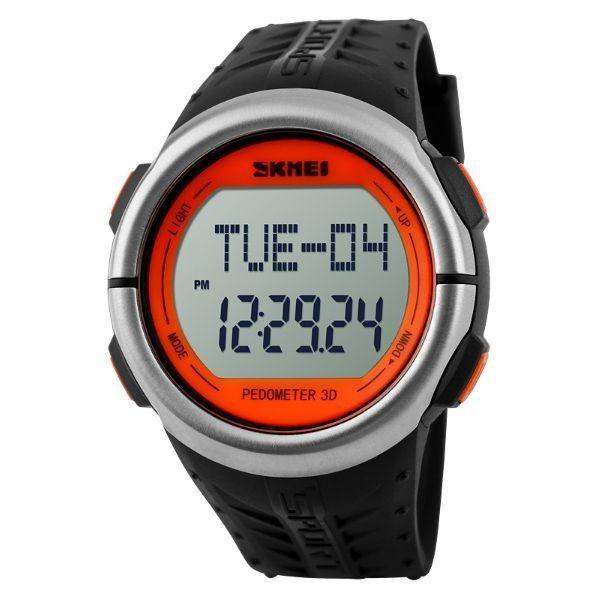 Relógio Masculino Skmei Digital Pedômetro 1058 Preto e Laranja