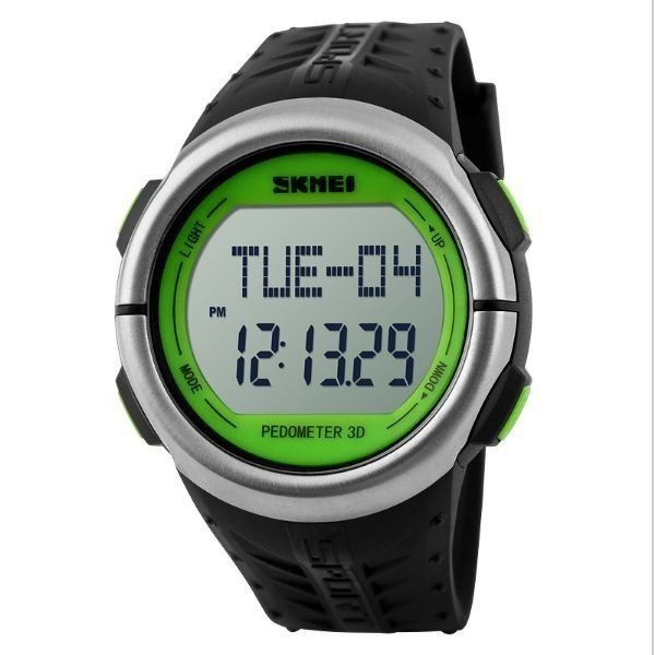 Relógio Masculino Skmei Digital Pedômetro 1058 Preto e Verde